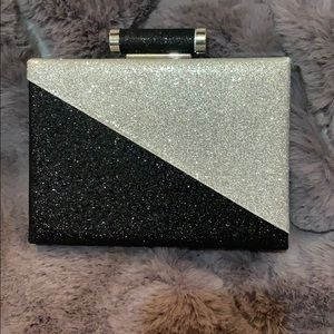 Black and silver sequined clutch